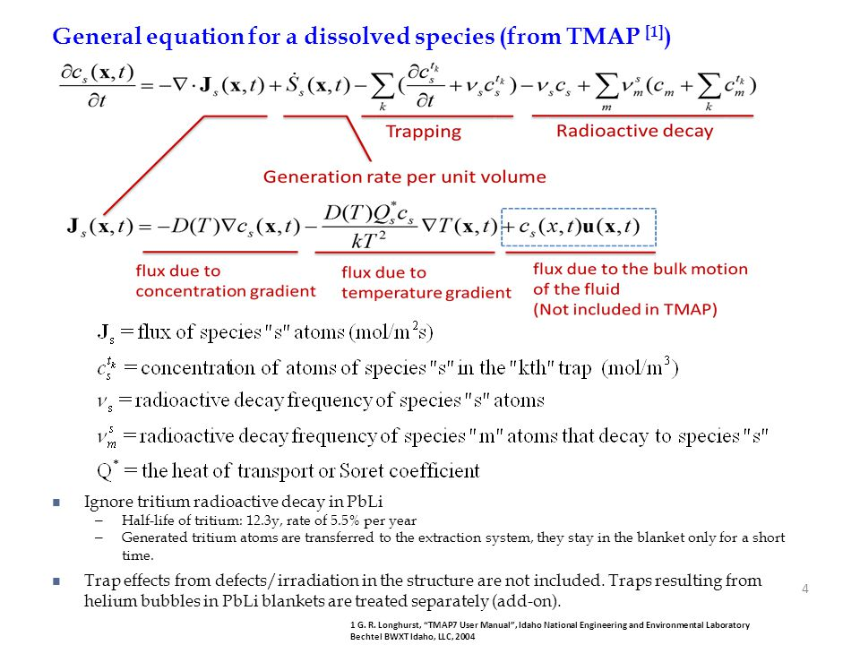 General equation for a dissolved species (from TMAP [1])